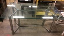 Vintage Glass Top Dining Table W Metal Base