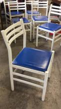 Lot 6 Vintage Chairs With Blue Vinyl Seats Set