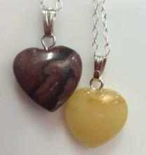 Lot 2 Natural Stone Heart Shaped Pendant Necklaces