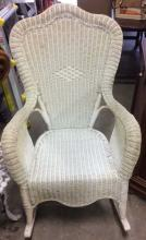 Vintage Woven Wicker Rocking Arm Chair