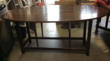 Oval Wooden Drop Leaf Dining Table
