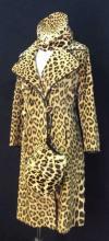 Vintage Couture Leopard Coat w Hat & Muffler