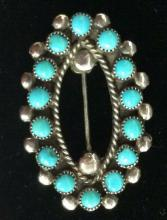 Vintage Navajo Sterling Turquoise Brooch Pin