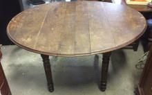 Antique Oval Wooden Drop Leaf Dining Table
