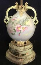 Antique Victorian Hand Painted Porcelain Lamp