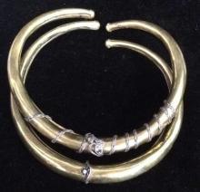 Pair Matching Brass Tone Metal Necklacesw Gemstone