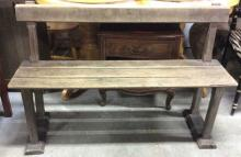 Antique Teak Wood Park Style Bench w Back