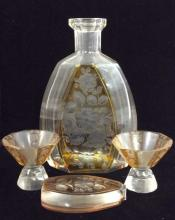 Lot 4 Floral Detailed Crystal Decanter & More