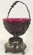 Cranberry Glass w Ornate Silver Pl Overlay L2029