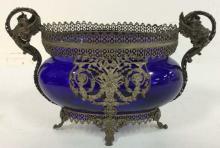 Silver Plated Overlay Cobalt Glass Centerpiece