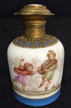 Antique Painted Porcelain Ormolu Perfume Bottle