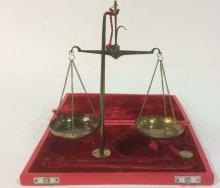 Vintage Gold Toned Balance Scale & Box