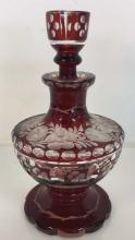 Slovakian Ruby Cut To Clear Perfume Bottle