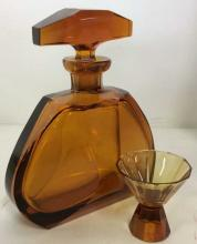 Amber Toned Glass Decanter W Stopper