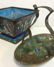 Pair Bronze Toned Metal Oriental Trinket Dishes