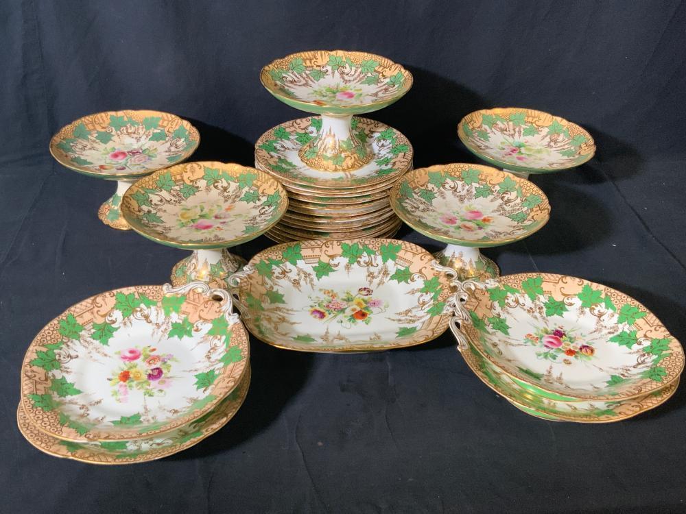 Set 23 Vintage Floral Porcelain Dessert Service