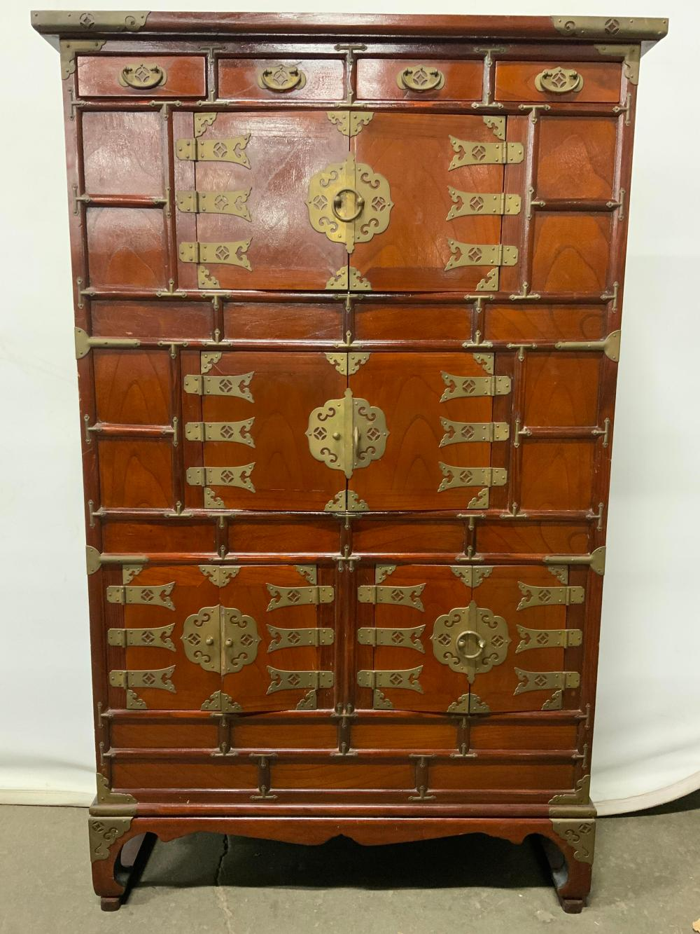 Vintage Wooden Asian Chest W Drawers