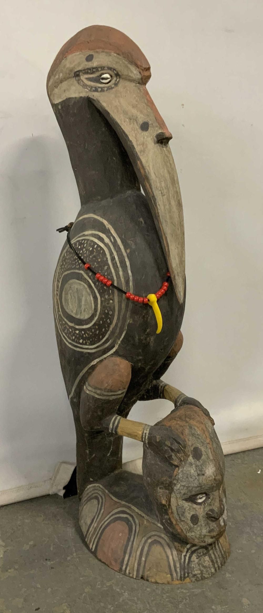 Aboriginal Style Hand Painted Carved Bird Statue