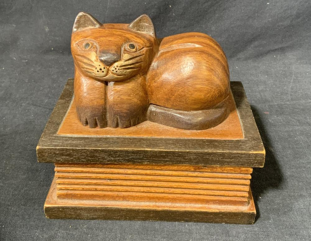Wood Box with Carved Cat on Lid