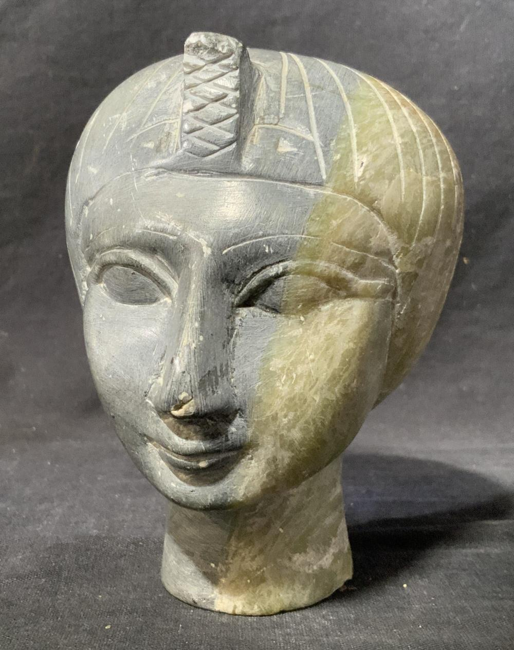 Egyptian Style Stone Head, Bust of a Woman