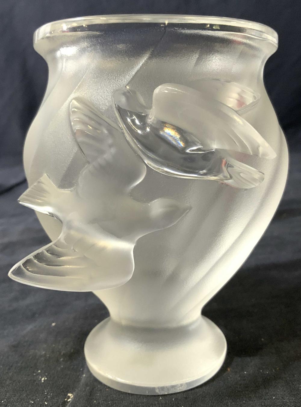 LALIQUE France CRYSTAL ROSINE Vase