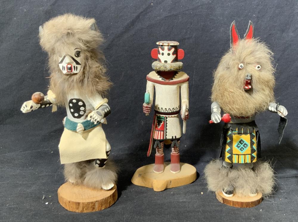 Lot of 3 Native American Kachina Dolls