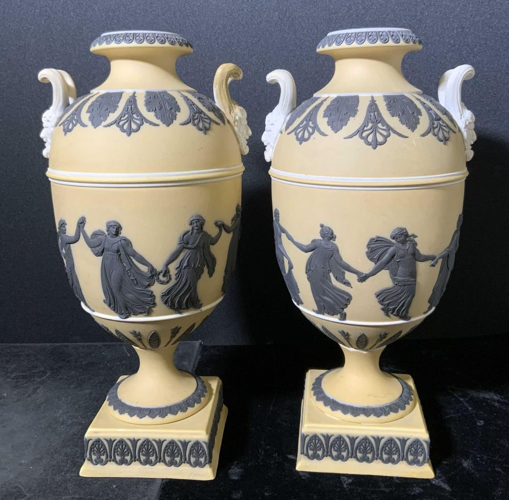Pair Antique Dancing Hours WEDGWOOD Urns