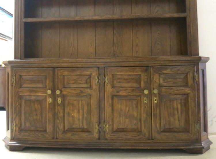 Vintage Walnut Buffet With Plate Display Hutch