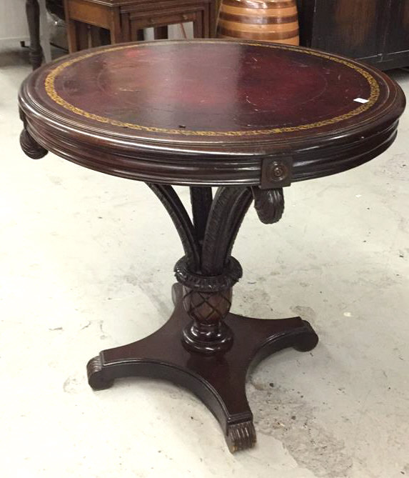 Antique Round Leather Top Coffee Table: Vintage Round Leather Top Pedestal Table