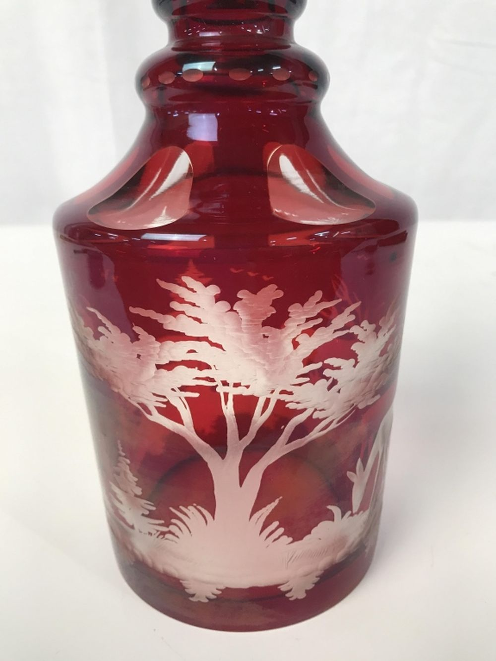 Vintage Bohemian Etched Glass Decanter