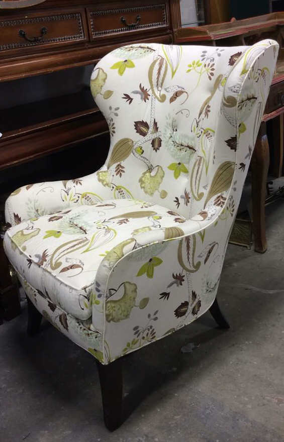 Pair Country Willow Upholstered Wing Chairs