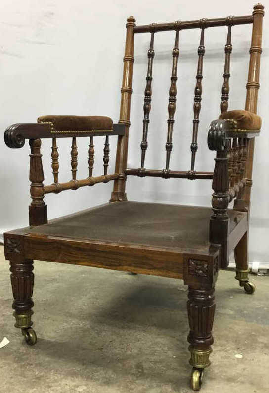 Antique English Library Chair On Casters