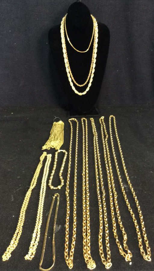 Is Monet Jewelry Real >> Lot 24 Jewelers group faux gold link chains