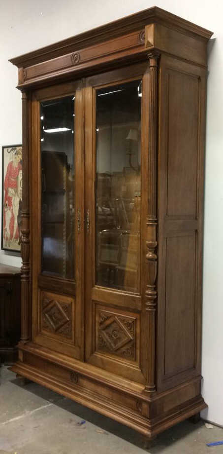 French Antique Walnut Display Cabinet