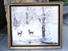 MORRIS KATZ Oil on Canvas Winter Scene