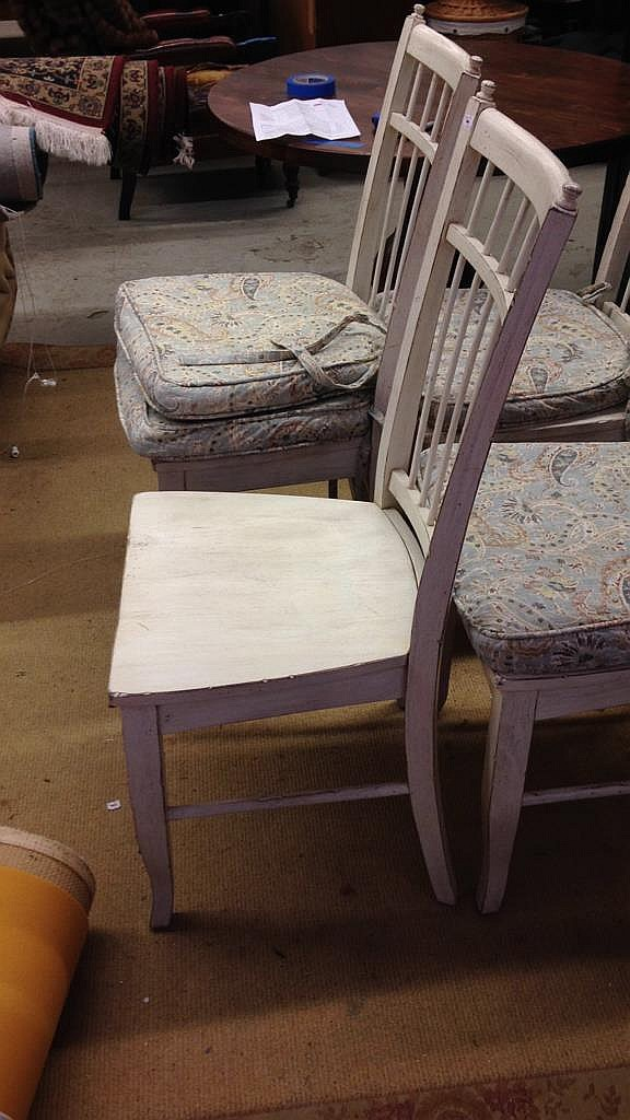 Set 4 Country Willow White Wood Chairs