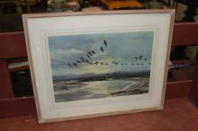 PETER SCOTT Print Birds and Sea