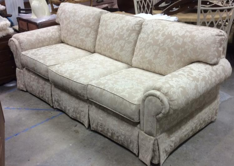 Hickory Hill Upholstered Beige Cream Toned Sofa