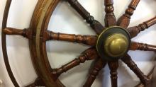 Large Antique Ships Wheel Brass Teak Oak Steel
