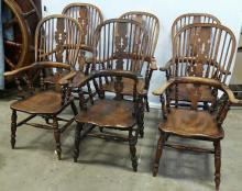 Set 6 Antique English Broad Arm Windsor Chairs
