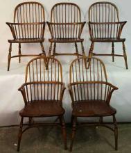 Set Five Antique Windsor Arm Chairs
