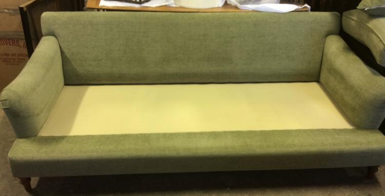 Custom celadon cotton chenille sofa for Custom made sofas uk
