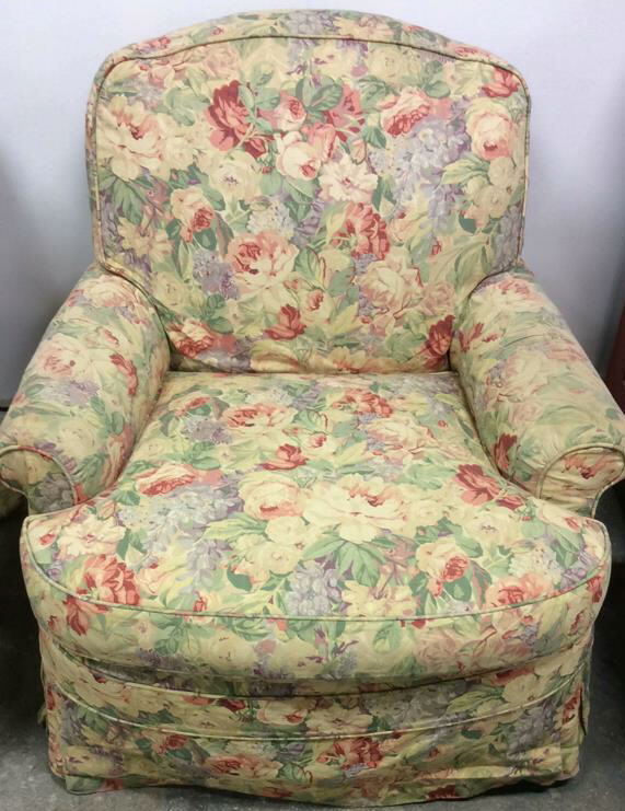 Pair Floral Chintz Upholstered Swivel Club Chairs
