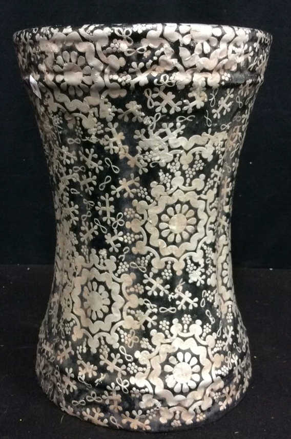 black and silver paint glazed garden stool