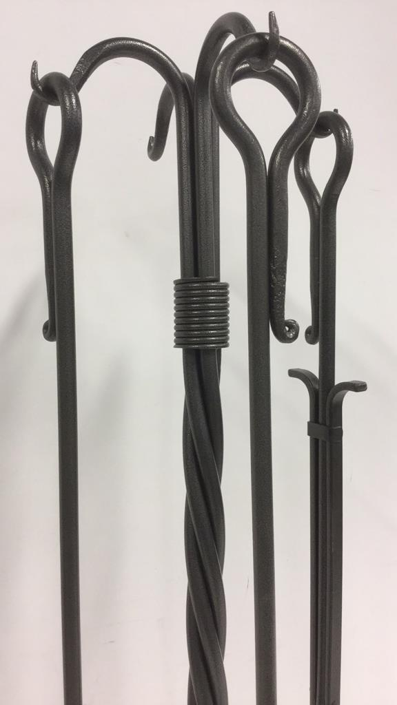 Lot 4 Cast Iron Hand Forged Fireplace Tool Set