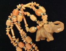 Natural Stone Carved Elephant Pendant Necklace