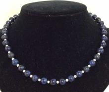 Natural Stone Beaded Necklace W Sterling Silver