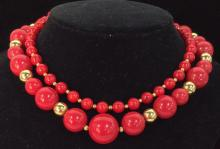 Lot 2 Women?s Red Toned Beaded Necklaces