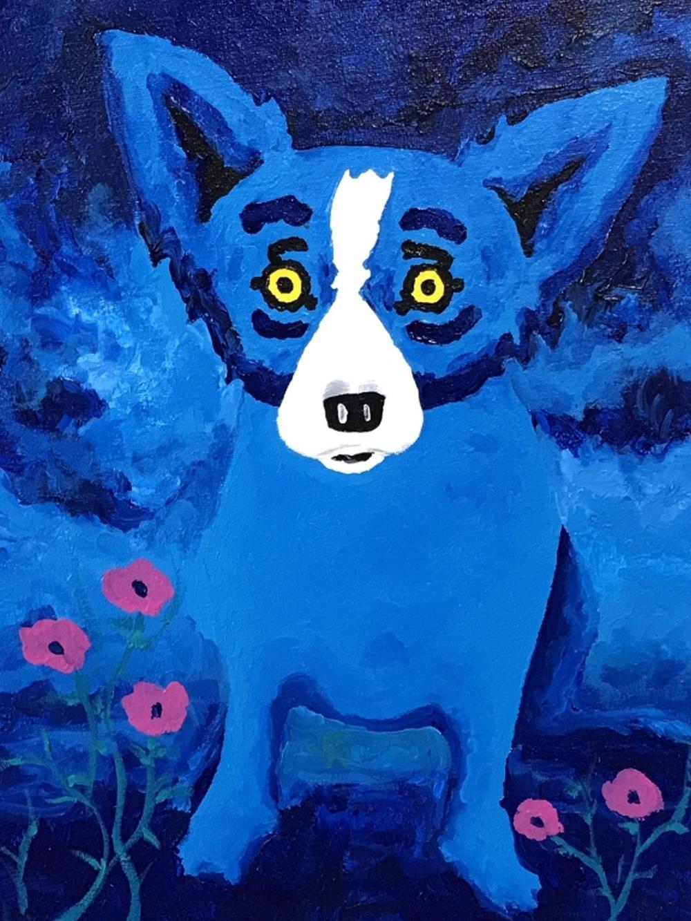 Signed Original George RODRIGUE Blue Dog Painting