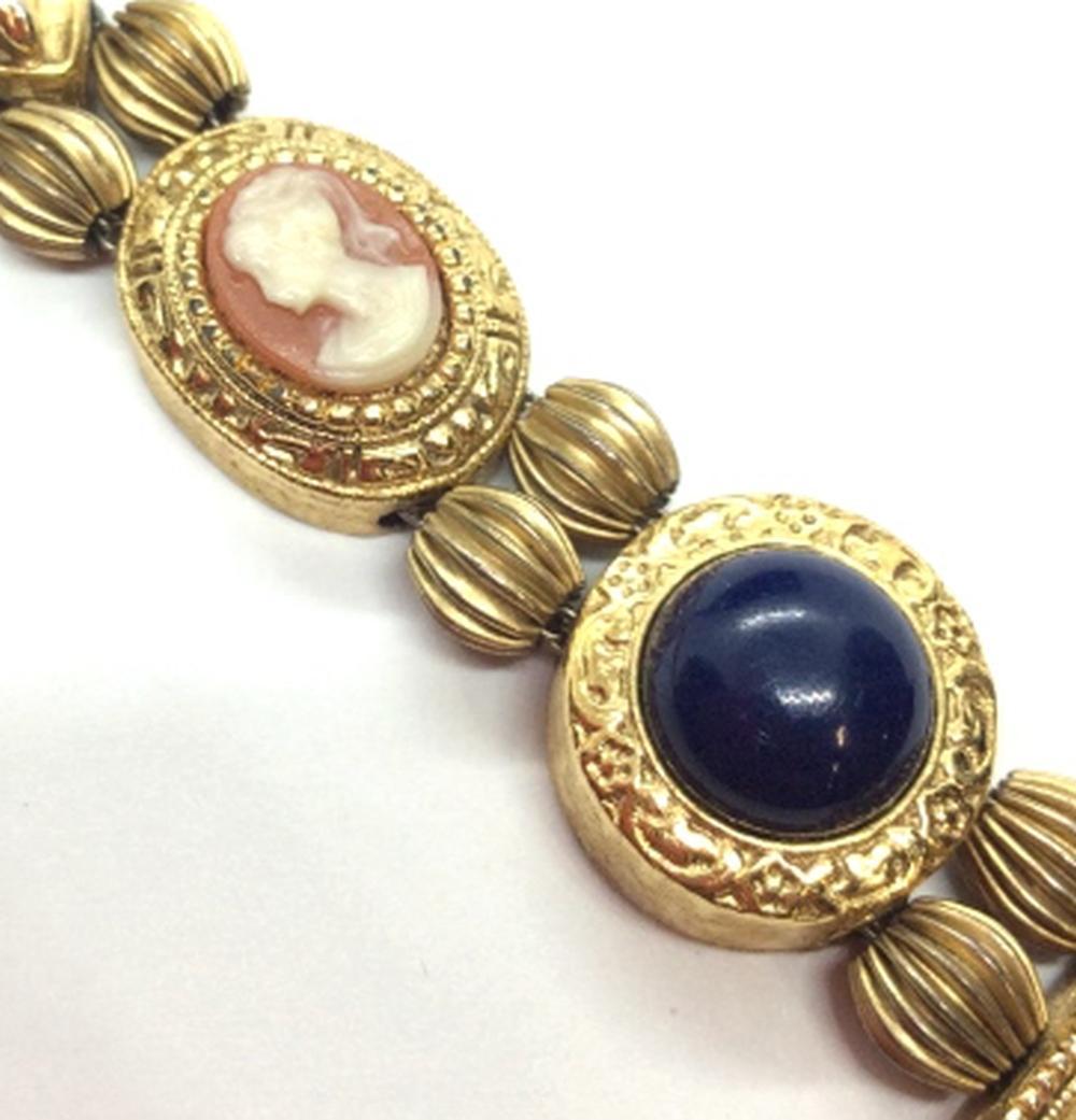 Vintage Cameo and Cabochon Bracelet